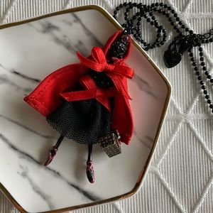 Betsey Johnson Red Riding Hood Skeleton Necklace